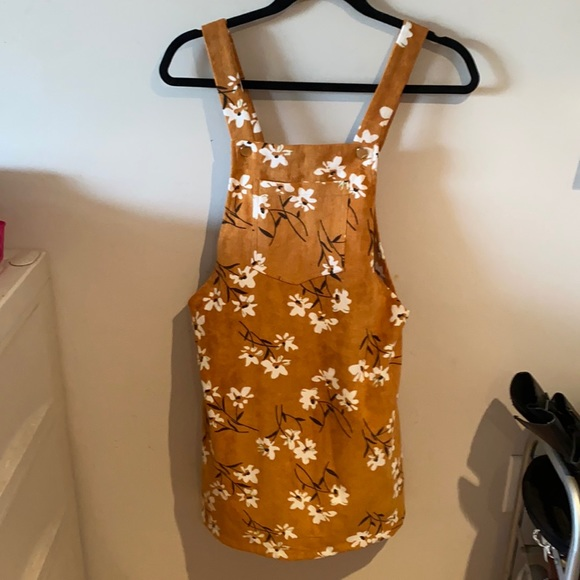Mustard floral overall dress jumpsuit